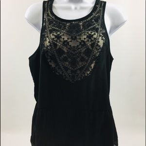 American Eagle Black Lace Sz M lined Top